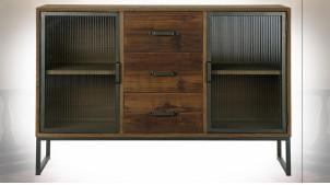 Buffet à 2 portes en verre ondulé et bois finition brun foncé ambiance industrielle rustique, 120cm