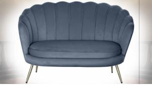 Canapé 2 personnes en polyester finition bleu marine, forme de coquillage de style contemporain, 130cm