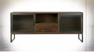 Meuble TV 2 portes en verre ondulé et bois finition naturelle vieillie ambiance atelier rustique, 140cm