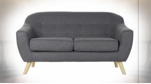 Canapé 2 personnes en polyester finition gris foncé de style contemporain, 146cm