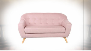 Canapé 2 places de style contemporain en polyester finition rose pâle, 146cm