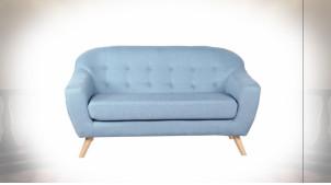 Canapé 2 personnes de style contemporain en polyester finition bleu ciel, 146cm