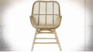Chaise en rotin et bambou finition naturelle de style tropical, 92cm