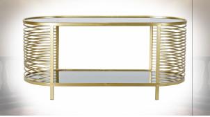 Table basse de forme ovale en métal doré et plateaux en verre teinté noir ambiance moderne chic, 101cm