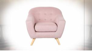 Fauteuil de style contemporain en polyester finition rose pâle, 81cm