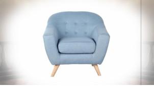 Fauteuil de style contemporain en polyester finition bleu ciel, 81cm