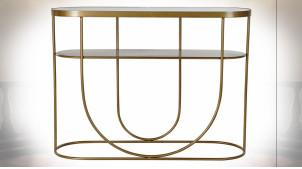 Console en métal doré et plateau en verre teinté noir ambiance moderne chic, 100cm