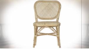 Chaise esprit vieux bistro en rotin et bambou finition naturelle ambiance rétro, 91cm