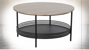 Table basse de style contemporain en métal noir et bois finition grisée, plateau inférieur avec galerie, Ø75cm
