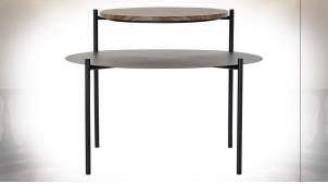 Table d'appoint à 2 niveaux en bois et métal noir de style contemporain, 70cm
