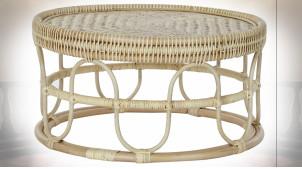 Table basse en rotin et bambou finition naturelle de style tropical, Ø70cm