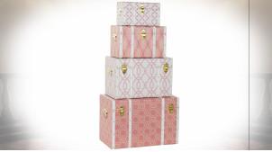 Série de 4 coffres de rangement en bois finition blanche et rose pâle, 60cm