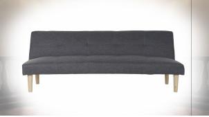 Canapé convertible en polyester finition gris foncé de style scandinave, 180cm
