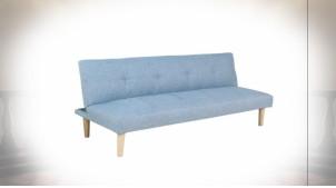 Canapé convertible de style scandinave en polyester finition bleu ciel, 180cm