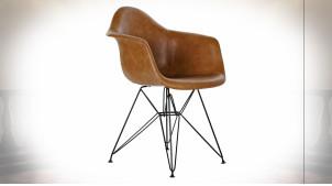 Chaise de style rétro imitation cuir finition brun caramel, pieds en métal noir, 84cm