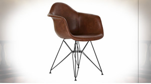 Chaise imitation cuir finition brun foncé et pieds en métal noir ambiance rétro, 84cm