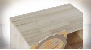 Meuble d'appoint en bois aux motifs animaliers ambiance chambre d'enfant, 84cm