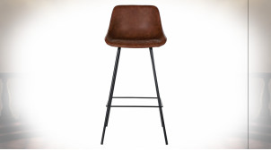 Chaise de bar imitiation cuir finition brun foncé de style rétro, pieds en métal noir, 101cm