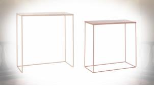 Série de 2 consoles en métal finition rose pâle et rose poudré de style moderne, 64cm