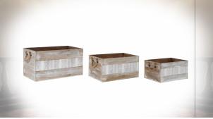 Série de 3 boîtes en bois finition naturelle blanchie et motifs géométriques de style Boho, 56cm