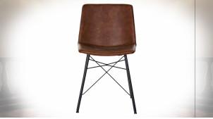 Chaise de style rétro en métal noir et imitation cuir finition brun foncé, 81cm
