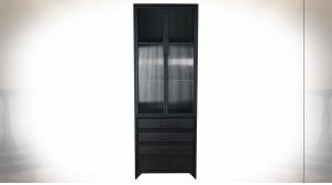 Vitrine 4 tiroirs en métal finition gris anthracite, façades de portes en verre ondulé ambiance rétro, 170cm