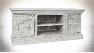 Meuble TV 2 portes en bois de manguier sculpté finition blanc vieilli de style Indien, 160cm