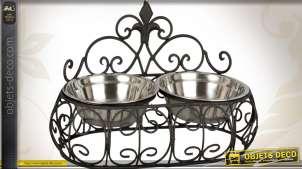 Gamelle en métal noir avec deux bols en inox pour chiens ou chats
