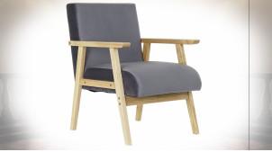 Fauteuil de style rétro en tissu effet velours finition gris foncé et pieds en bois, 76cm