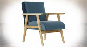 Fauteuil de style rétro en tissu effet velours finition bleue et pieds en bois, 76cm