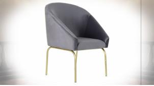 Chaise de style rétro en tissu effet velours finition gris clair et pieds doré, 88cm