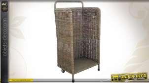 Chariot à bûches vertical en poelet gris et métal