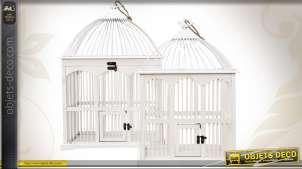 Ensemble de 2 cages à oiseaux blanches en bois style rétro