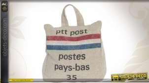 Bloque-porte en forme de petit sac postal toile grise