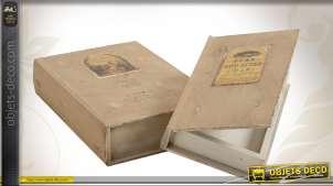 Série de deux livres-coffrets en bois style rétro