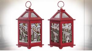 Duo de lanternes de Noël, en bois coloris rouge avec éclairage LED 18 cm