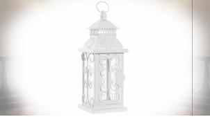Lanterne blanche en métal et verre de style romantique 29 cm