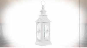 Lanterne décorative blanche en métal et verre de style romantique 41 cm