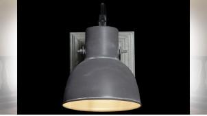 LAMPE APPLIQUE BOIS MÉTAL 15X18,5X18,5 PORTÉ GRIS