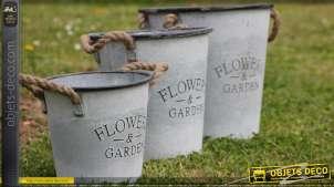 Lot de 3 cache pots décoratifs Flowers and Garden