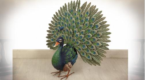 Animal décoratif en métal : paon d'ornementation en métal 65 cm