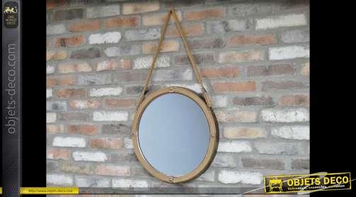 Miroir déco marine en métal et cordage hublot suspendu