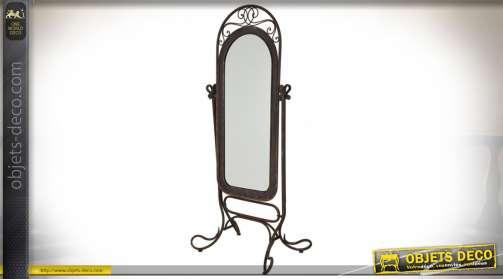 Grand miroir en forme de psyché rétro esprit baroque en métal finition vieillie