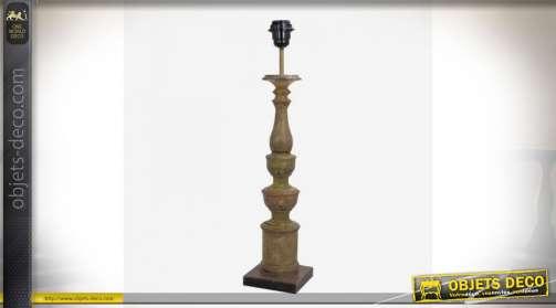 Pied de lampe en bois vieilli tourné pour abat-jour de 35 à 40 cm