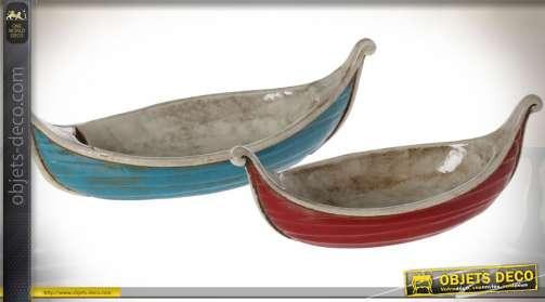 Ensemble de deux plats de présentation en céramique (45 et 36 cm) coloris bleu et rouge
