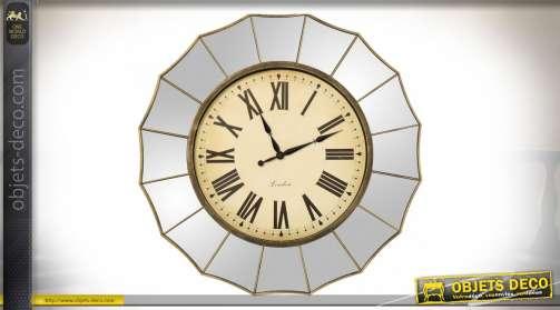 Horloge murale chic de style rétro avec encadrement extérieur en miroir