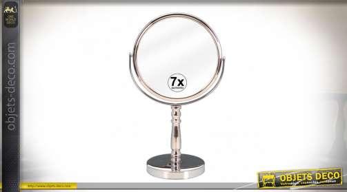 Miroir de bain en métal chromé avec glace circulaire pivotante et grossissante