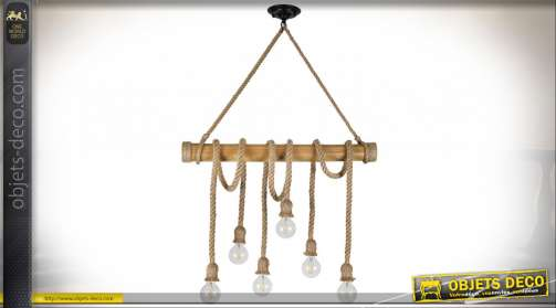 Suspension originale en bois et cordes à forte section de style rustique avec six ampoules