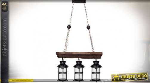 Grande suspension de style rustique et rétro avec chaînes en métal, plateau en bois et lanternes rétro 3 x E27