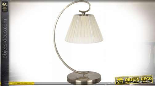 Lampe à poser esprit rétro avec abat-jour suspendu et pied en métal coloris bronze doré brillante